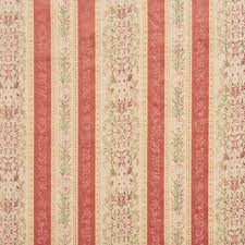 coral and tan heirloom stripe brocade upholstery fabric by the