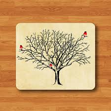 Vintage Desk Pad Vintage Tree Branch Litter Bird Mouse Pad Hand Draw Watercolor