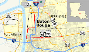 map of baton u s route 61 190 business