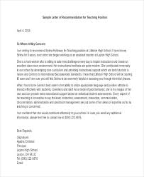 letter of recommendation for teacher 6 free word