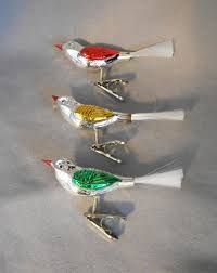 vintage germany mercury glass birds clip on ornaments in