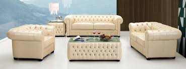 tufted living room furniture light beige genuine tufted leather formal living room sofa