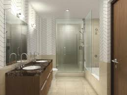 wooden accents contemporary modern white tiled bathrooms bathroom