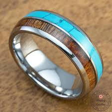 8mm ring tungsten carbide 8mm ring with turquoise and hawaiian koa wood inlay