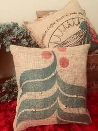 home decor holding company burlap christmas pillow coffee gift jingle bell burlap pillow