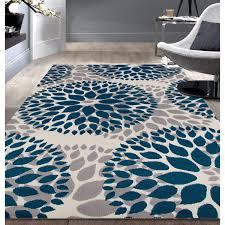 modern floral design blue area rug 5 u0027x7 u0027 actually more