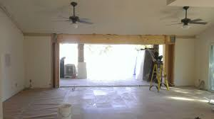 installing new header for 16 ft sliding glass door living room