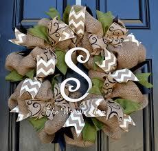 monogram wreath fall burlap monogram wreath in moss green
