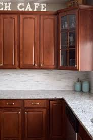 White Backsplash For Kitchen by Kitchen Makeover Reveal Cherry Cabinets Marble Tiles And