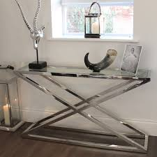 Glass And Metal Sofa Table Brooklyn Chunky Chrome U0026 Glass Console Table Console Tables