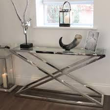 Chrome And Glass Sofa Table Brooklyn Chunky Chrome U0026 Glass Console Table Console Tables