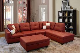 low profile red faux leather sectional sofa w right arm chaise