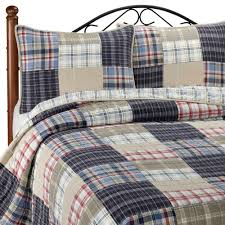 Nautica Twin Bedding by Nautica Chatham Navy Blue Tan Red Plaid King Patchwork Quilt 100