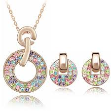 earring necklace sets cheap images Multicolored austria crystal circle earrings necklace jewelry jpg