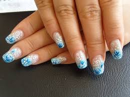 french nail designs with rhinestones