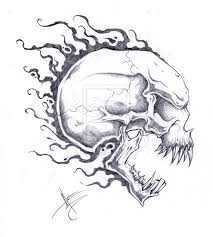 awesome flaming skull design