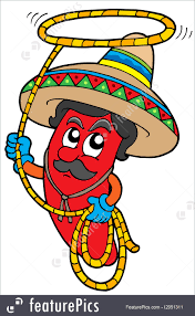 cartoon sombrero illustration of cartoon mexican chili with lasso