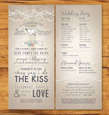 wedding programs rustic wedding programs with non tradition ceremony