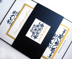 Navy Blue Wedding Invitations Blue And Gold Wedding Invitations Plumegiant Com