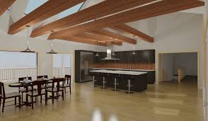 code designs render of open concept kitchen with island and