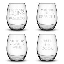 game of thrones wine glasses set of 4 premium game of thrones wine glasses i drink and i know