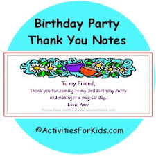 birthday thank you notes birthday party goodie bag thank you notes for kids goodie bags