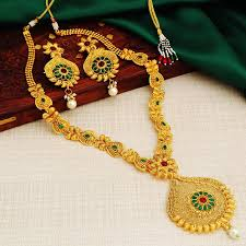 golden jewellery necklace images Buy necklace sets online temple jewellery gold plated neckace jpg