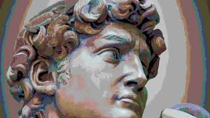 detail close up of michelangelo u0027s david statue with the effect of