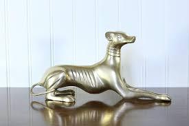 dog home decor brass dog vintage whippet figurine greyhound home decor