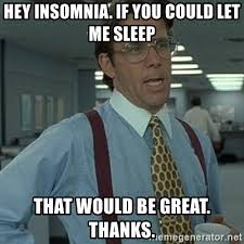 Insomniac Meme - hey insomnia if you could let me sleep that would be great