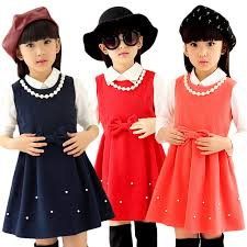 online shop kid girls winter dress with necklace bow wool clothes