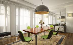 hanging light over table big dome kitchen dining room lighting idea with stylish black