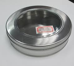 china silver color round cookie tin box with clear window lid
