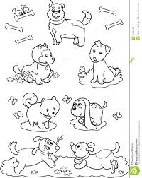 cute cartoon dogs coloring page royalty free stock images image