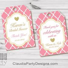 bridal shower favor tags bridal shower thank you tags personalized bridal shower favor