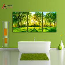 3 piece home decoration artwork canvas print sunshine forest green