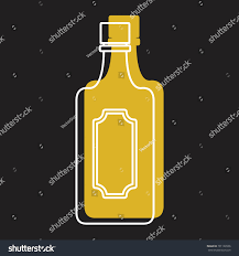 martini bottle bottle alcohol martini line color silhouette stock vector