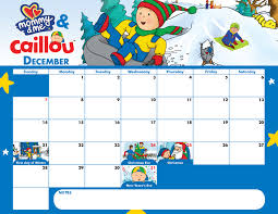 caillou december calendar happy holidays pbs parents pbs