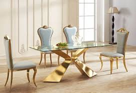 gold and glass table versailles dining table gold base with clear glass top berton