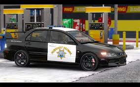 mitsubishi evo custom mitsubishi evo ix chp highway patrol paintjob gta5 mods com