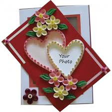 valentine greeting heart quilling