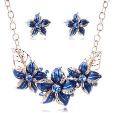 sapphire necklace earrings images Gold plated austrian crystal enamel flower jewelry sets women jpg