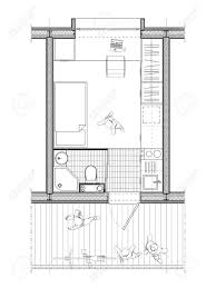 technical architect drawing of a plan of a student room of 9
