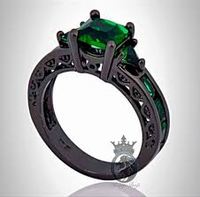 emerald engagement rings images Black gold and princess cut emerald engagement ring png