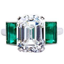 Emerald 6 36 Carat Emerald Cut Diamond Colombian Emerald Platinum Ring Gia