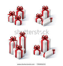 boxes with bows set gift boxes bows ribbons isometric stock vector 726981631