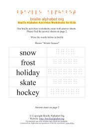 braille worksheets winter words for sighted kids braille
