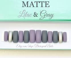 matte lilac u0026 gray press on nails grey stiletto nails custom