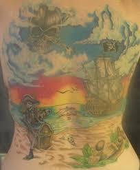 pirate world scene tattoo