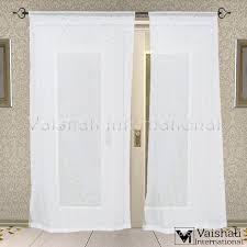 Cotton Tie Top Curtains by 2 Pcs Cotton Semi Transperant Tie Top White Door Bedroom Curtains